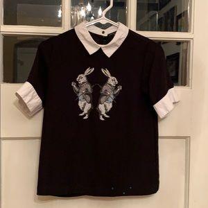 Child's black Alice in wonderland rabbit top